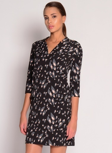 House Of Camellia Truvakar Kol Desenli Kısa Elbise Siyah